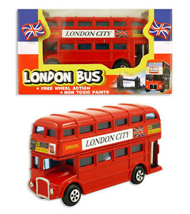 Die Cast Red Double Decker London Bus Toy Souvenirs 3.5