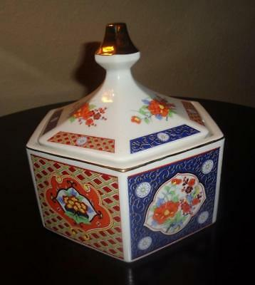 "VINTAGE ASIAN DECORATIVE PORCELAIN DISH ""Lidded & Hexagon Shape"""