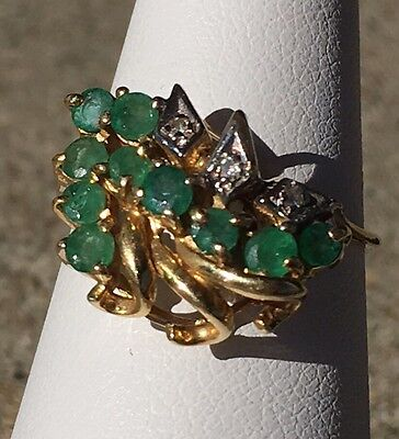 14K Gold Natural Emerald and Diamond Accents Ring  Size 5 1/2