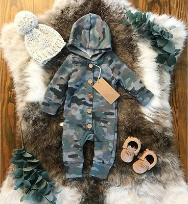 USA Kids Baby Boy Camo Romper Jumpsuit Bodysuit Hooded Clothes Sweater Outfit - Boys Kids Outfit