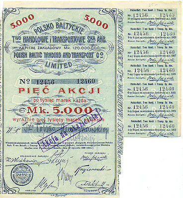 Polen Polish Baltic Trading and Transport old share Aktie 1920 Jugendstil Poland