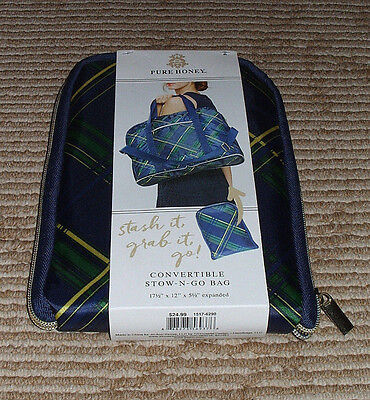 Pure Honey Convertible Stow-N-Go- Bag! Green/Blue Plaid Style! New in