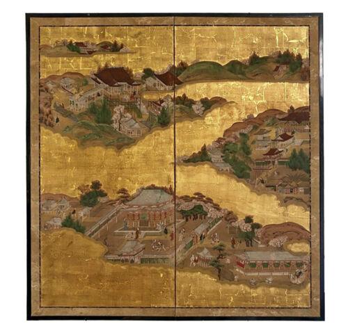 Antique Japanese 2-panel screen painting, Edo Period (1603-1868)