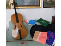 Cello musical string instrument with bag and books etc.