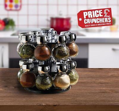 16 Piece Kitchen Revolving Glass Masala Herbs Spice Jar Rack Carousel Rotating