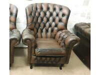 Shabby chic Chesterfield wingback armchair. Delivery available