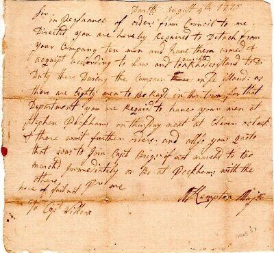 1776, Rhode Island, Major Kempton, manuscript orders to march, signed, Wilcox