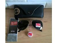 Rayban black aviator sunglasses. New in box