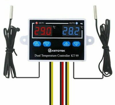 Digital Thermostat Incubator Temperature Controller Embedded With Dual Probe New