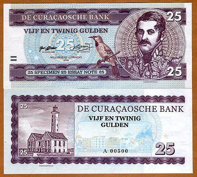 Curacao, 25 Gulden, 2016, Private issue, Essay, Specimen, UNC
