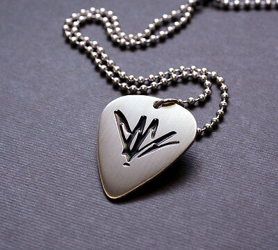 Handmade Etched Nickel Silver Chris Cornell Guitar Pick Necklace   Donation Sale