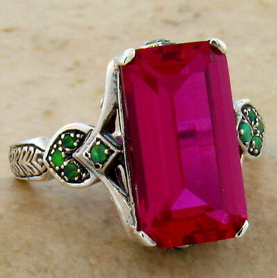 7 CT. LAB RUBY & OPAL ANTIQUE STYLE .925 STERLING SILVER RING SIZE 7,   #492