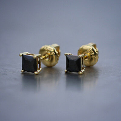 Men's Gold Black Diamond Princess Cut  Stud Earrings ()