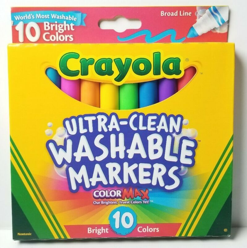 Crayola Ultra-Clean Color Max Broad Line Washable Markers-10 Bright Colors