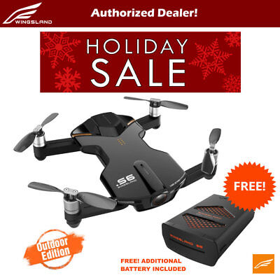 Wingsland S6 V2 Smart Pocket FPV Drone with Extra Battery 4K HD Camera - Black