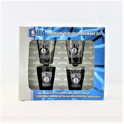 Brooklyn Nets NBA 4pc Hunter 2oz collector shot glass set