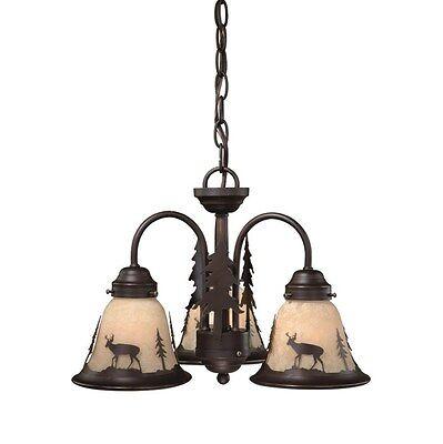 NEW 3 Light Rustic Deer Chandelier Fixture OR Ceiling Fan Lighting Kit, Bronze