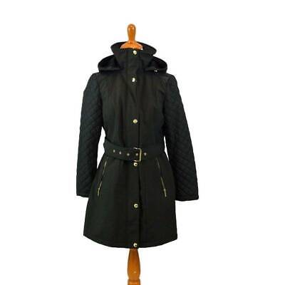 NWT Michael KORS MP Black Hooded Quilted Parka Coat Mixed Media (Hooded Quilted Parka)