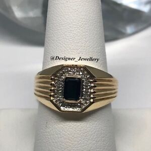 Mens 10k diamond and blue sapphire ring