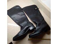 Black leather, wide leg, CLARKES women's boots size 8.