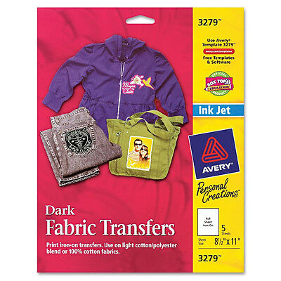 CUSTOM TRANSFERS DARK T-shirts InkJet Printable Iron-On Avery 3279 8.5x11 5shtpk