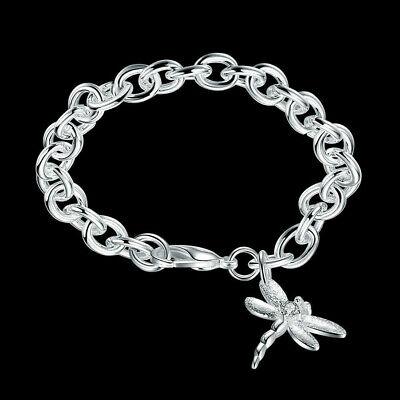 Fashion Jewelry 925 Silver Rough Chain Dangle Dragonfly Women Bracelet HB282 ()