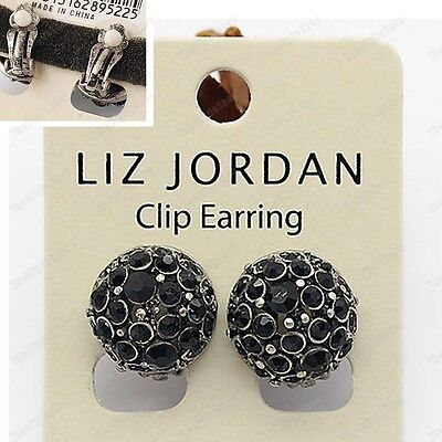 CLIP ON CRYSTAL DOME EARRINGS vintage silver tone BLACK rhinestone ANTIQUE STYLE Tone Crystal Dome