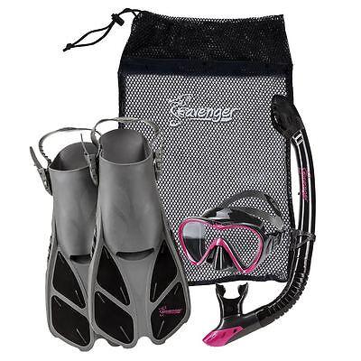 Kids Snorkel Sets - Used Seavenger Adults Kids Dry Top Snorkel Mask Fins Bag Travel Set