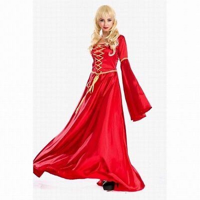 Red Renaissance Dress Costume (Red Renaissance Gown Costume Medium Large Womens Medieval Halloween Dress)
