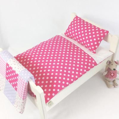 DOLLS BED PRAM/COT BEDDING SET ~ PINK DOTTY ~  BABY ANNABELL/BORN for sale  Shipping to Ireland