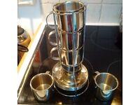 URGENT Inox Expresso Coffee Cups & tray (like new)