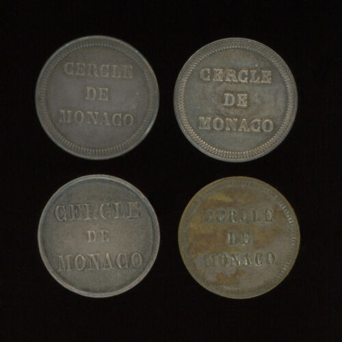 UNIQUE SET OF 4 CASINO de MONTE CARLO TOKENS MONACO FRANCE