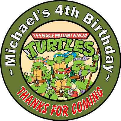 24 NINJA TURTLES PERSONALIZED BIRTHDAY THANK YOU PARTY STICKERS FAVORS LABELS #2 - Ninja Turtles Favors