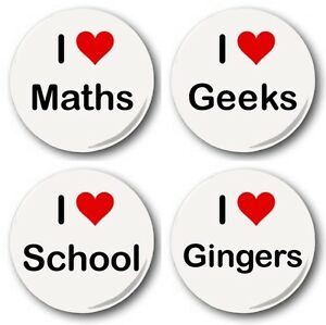 I-Love-Heart-Collection-4x-25mm-1-Button-Badges-Maths-School-Geek-Nerd-Gingers