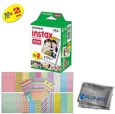 Fujifilm Instax Mini Instant Film -20 SHEETS- For Mini 8 & 9 Cameras + Stickers