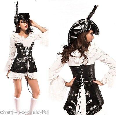 gue Piraten mit Hut Halloween Kostüm Kleid Outfit (Rogue Pirate Kostüm)