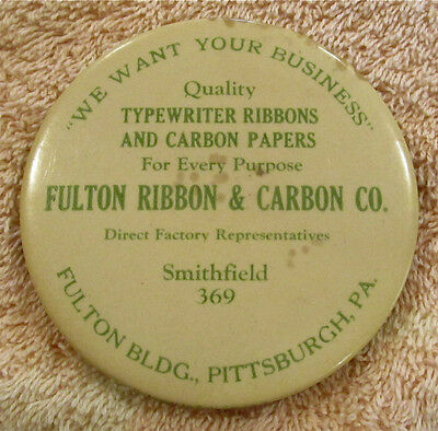 Vintage Celluloid Advertising Pocket Mirror - Fulton Ribbon & Carbon Co.