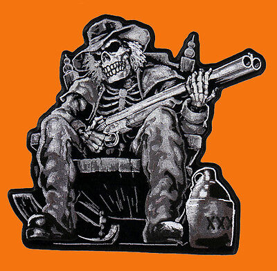 SKELETON SKULL OUTLAW ANARCHY 4 INCH IRON ON MC BIKER  PATCH
