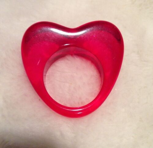 Lucite Heart Translucent Red Ring Size 6.5