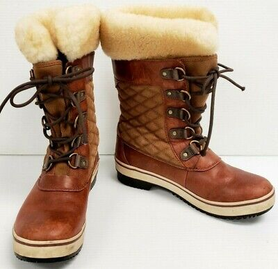 Cuff Ugg Boots (UGG size 7 Brynn #1001371 Brown Wool Liner Boots Shearling Fur Cuff Quilted RARE )