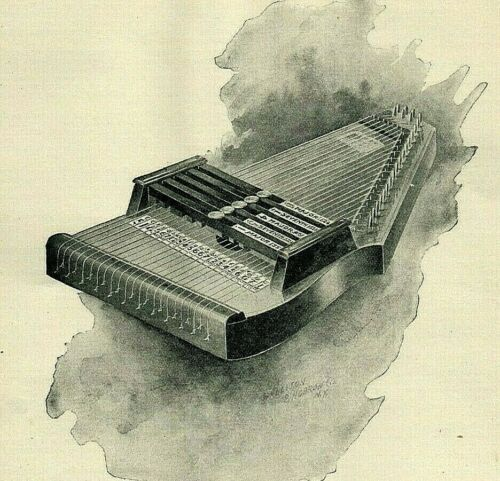1895 AUTOHARP Harp Instrument Engraving Watercolor Look ORIGINAL Print Ad 4689