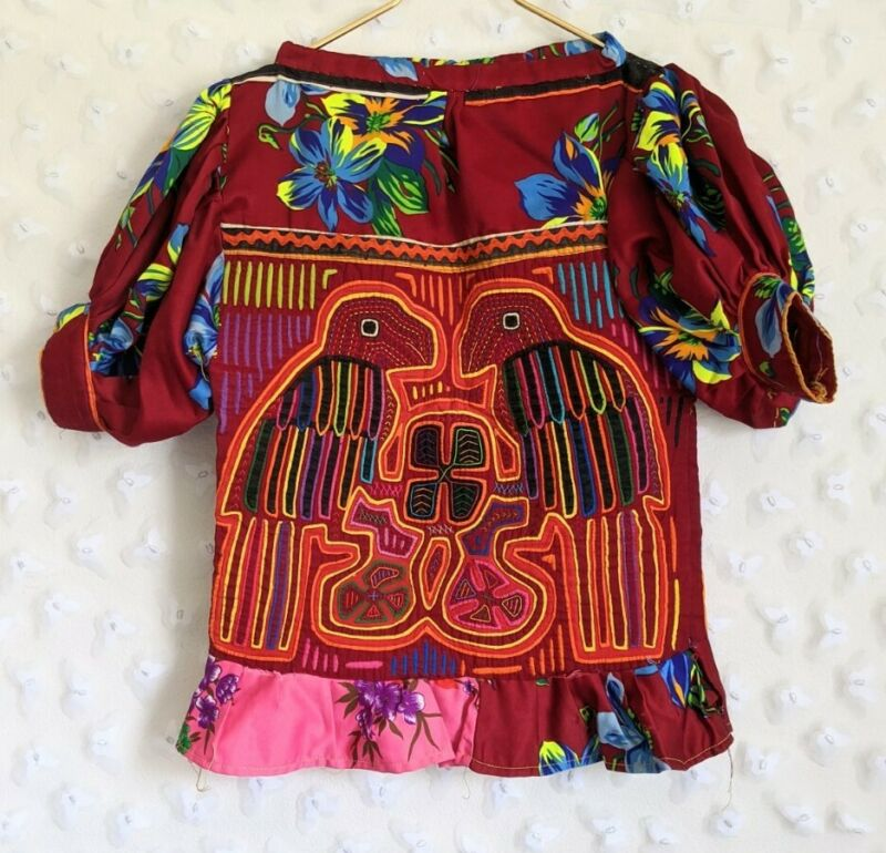 "Vintage Kuna Mola Blouse Top Indian San Blas Islands Panama Two Birds 30"" Bust"
