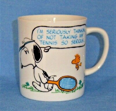 Vintage Snoopy & Woodstock Coffee Cup 1965 Tennis Defeated Theme