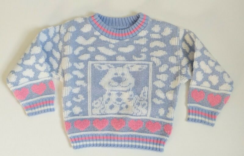 Vintage 80s Girls 3 4 5 Kawaii Fairy Kei Acrylic Sweater Hearts DOG USA Purple