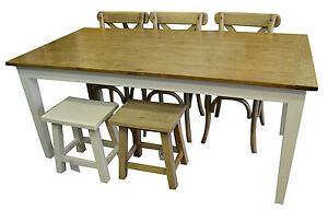 French Provincial Country Style Oak Dining Table With White Legs 180x90