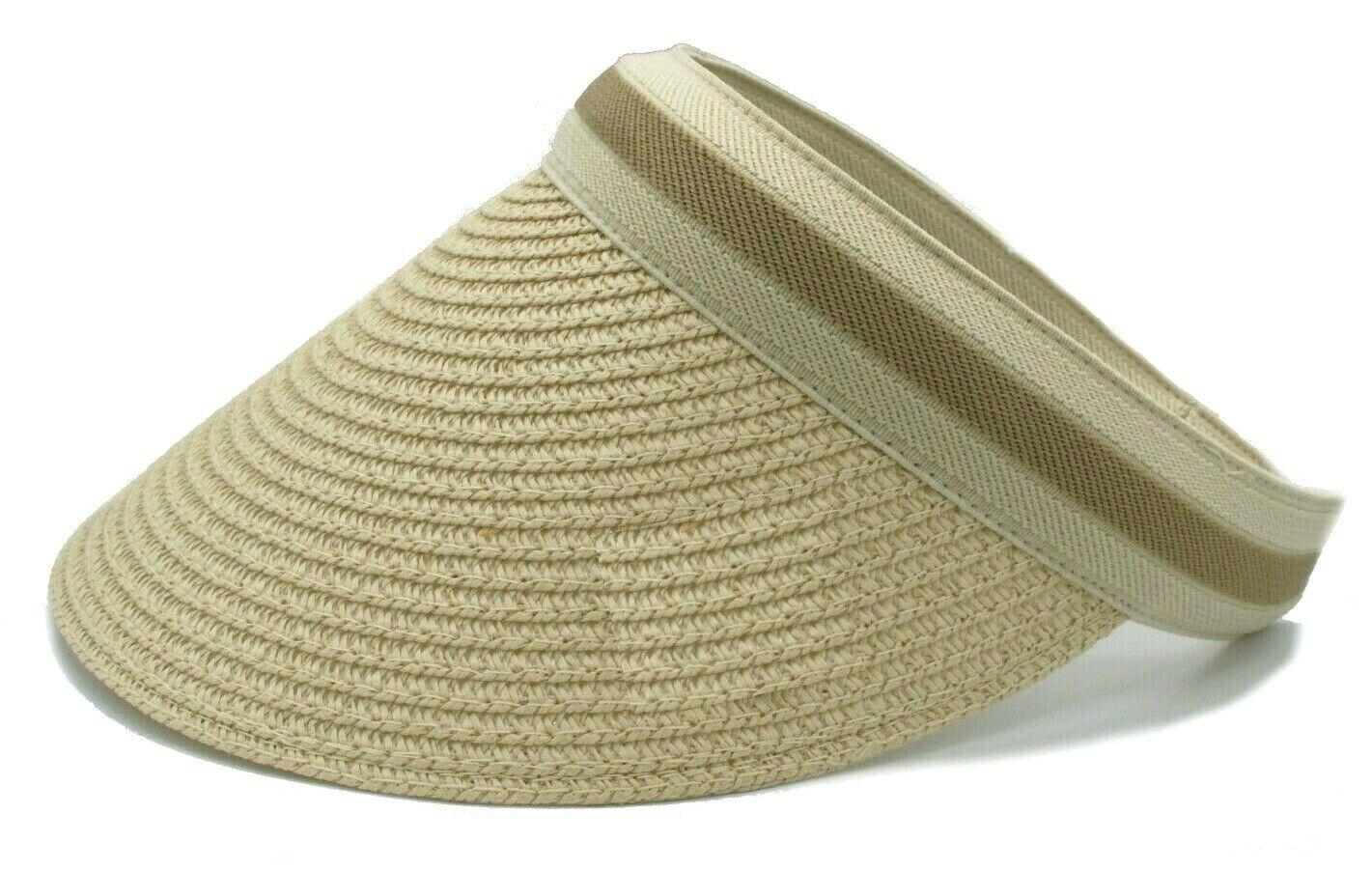 Damen Visor mit Spange Kappe Beige Golfcap Sonnenblende Beach Cap Nature