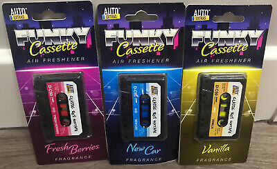 MUSIC CAR AIR FRESHENERS BUNDLE OF 3 CASSETTE GIFT BERRIES VANILLA SCENTED