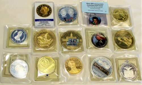 LOT OF 14 COMMEMORATIVE COLLECTIBLE COIN COLLECTION TRUMP CIVIL WAR DOUBLE EAGLE