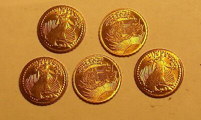5 1907 Mini $20 Gold St. Gaudens Coins Lot - Mini Coins