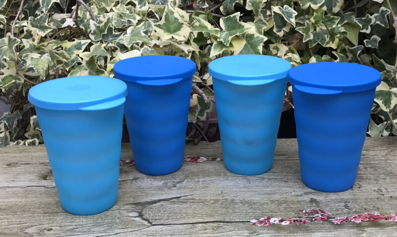 Tupperware Impressions 16 ounce Tumblers  Set of 4 Blue color New !!!!!!